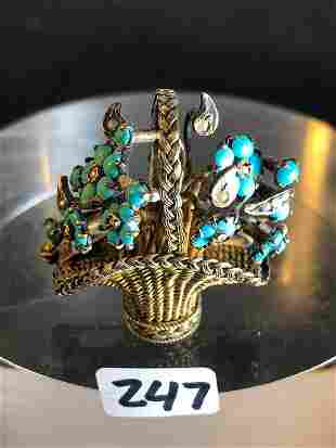 Victorian Basket Brooch with Turquois Flowers and