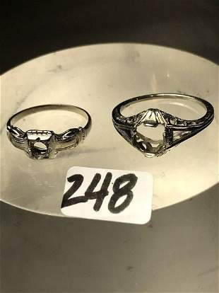 2 Victorian 18K Gold Ring Settings