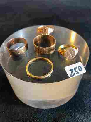 Five Victorian to 1920's 14K Gold Rings