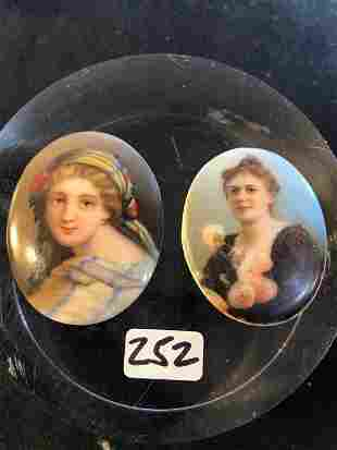 2 Victorian hand painted Miniature Portaits of young