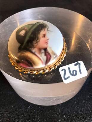 Victorian Porcelain Miniature Portrait Rolled Gold