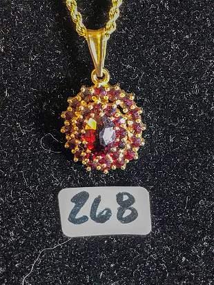 Turn of the Century 14 K Gold Garnet pendant on Chain