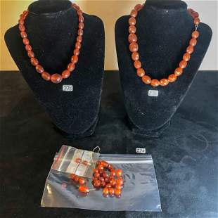 2 Amber Necklaces along with amber beads Circa 1900