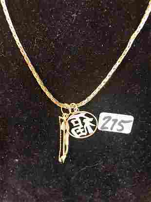 14 K Gold Necklace with 2 Charms