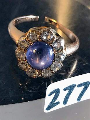 14 K Gold Saphire and Diamond Ring