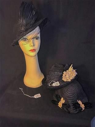 3 1920's Fancy Hats