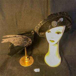2 Edwardian Black Velvet hats