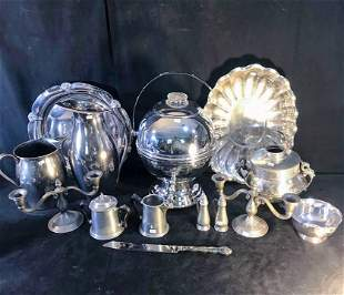 Lot of Quality Silver Plate, Chrome, and Pewter