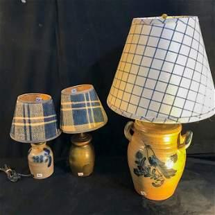 3 Designer Salt Glazed Lamps w/ Cobalt decoration