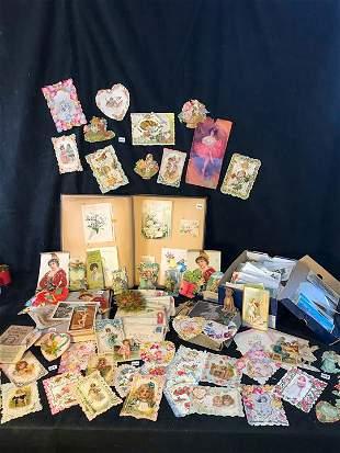 Group of Victorian Valentines, Honeymoon Scrap Book,
