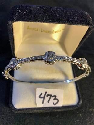 Diamond and White Gold Hinged Bracelet