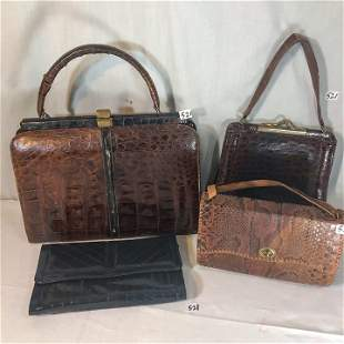 Group of Exotic Skin Purses to include Crocolile,