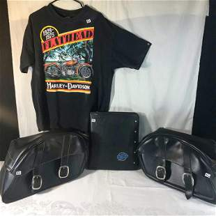 pair of leather Motorcycle Saddlebags, 1991