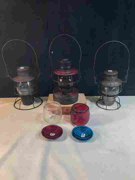 3 Railroad Oil Lanterns and extra shades,and refracters