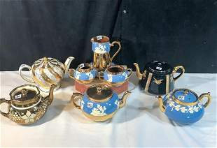 Group of English Teapots and Gibson Luster Breakfast