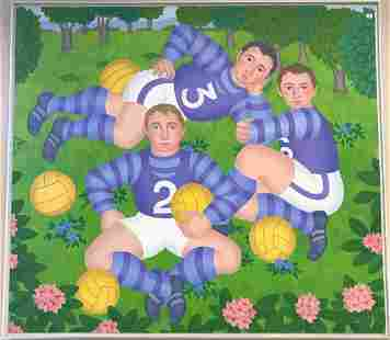 Gerald Garston Oil on Canvas of Rugby Players