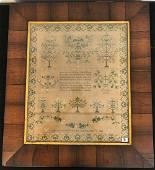 Folk Art 1838 American Sampler in Period Frame