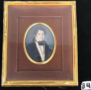 18th C. English Miniature Painting of Young Navy