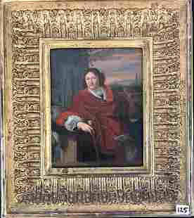 Pierre Mignard Oil on Board of gentleman with a cane