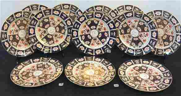 12 Royal Crown Derby Imari Hand Painted Dinnerplates