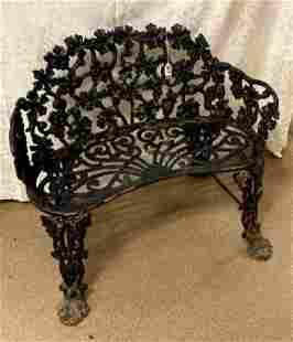 Iron Grape-Pattern Garden Bench