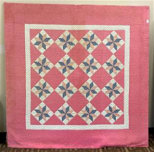 Antique Pink and Star Pinwheel Quilt