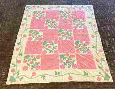 Antique Floral Patchwork Quilt