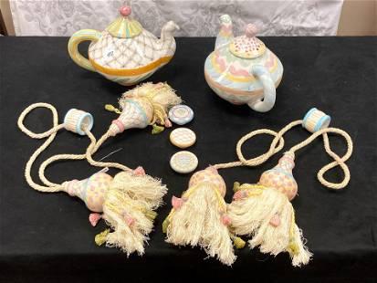 MacKenzie Childs Teapots, Curtain Pulls, and Hardware
