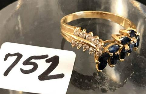 14k Gold Sapphire and Diamond Cocktail Ring Size 8