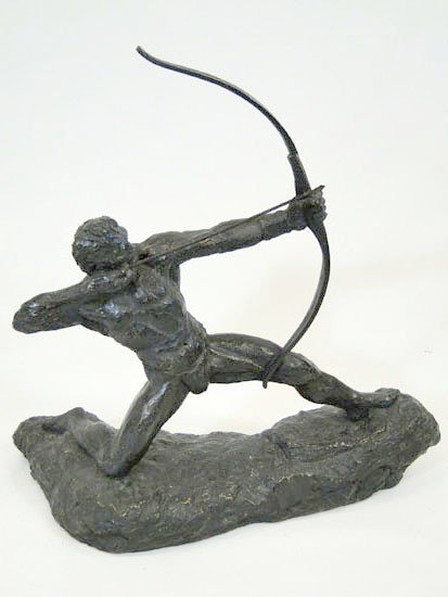 2: Bronze over plaster, figural statue of an archer - s