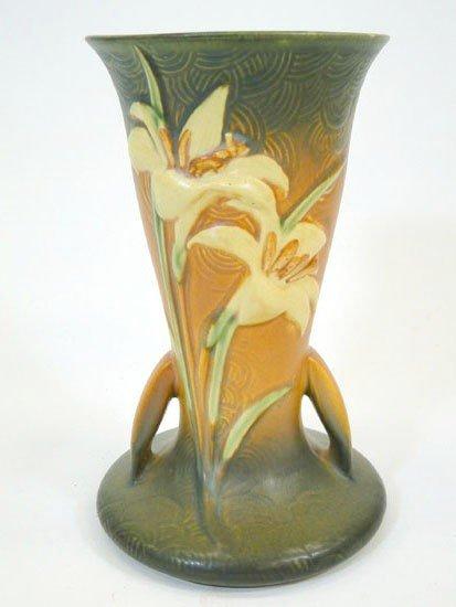 5: Roseville double handled Zephyr Lilly vase - rim fla