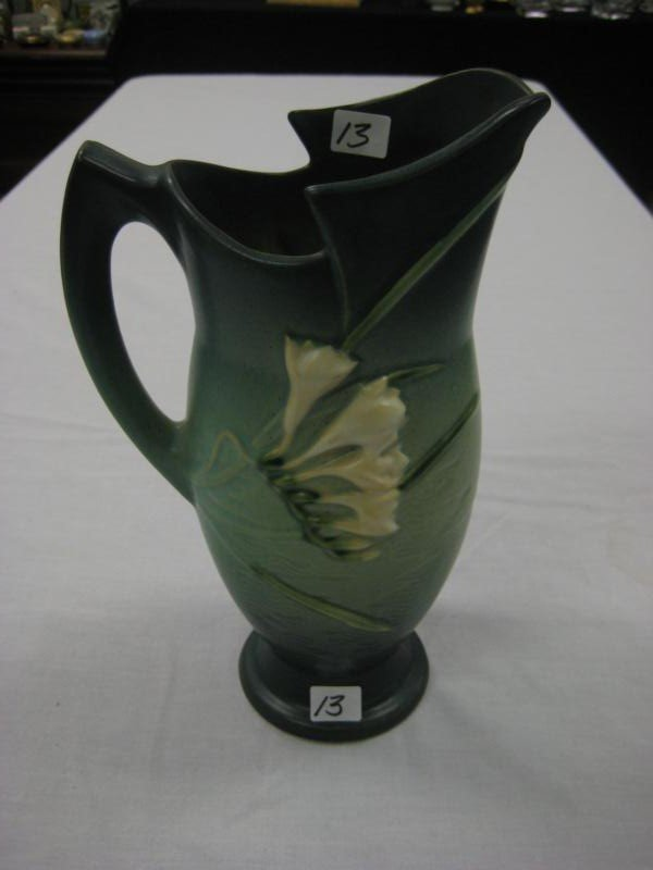 "13: Roseville Freesia  floral pitcher- 10"" tall (est. v"