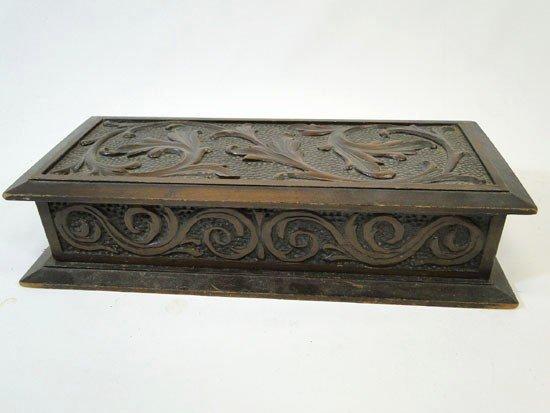 "16: Folk art elaborately carved letter box - 5 1/2"" dee"