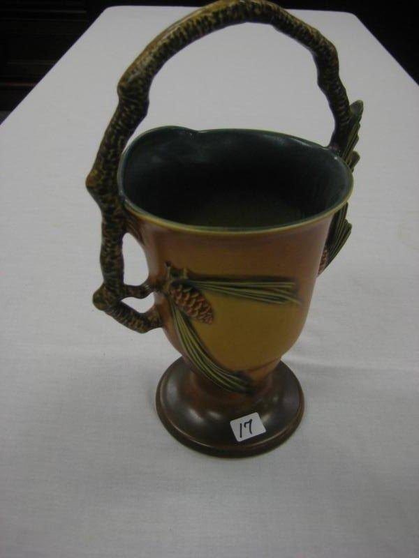 17: Roseville #353-11 pine cone handled basket in excel
