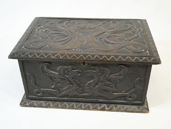 18: Folk art hand carved document box dated 1903 - init
