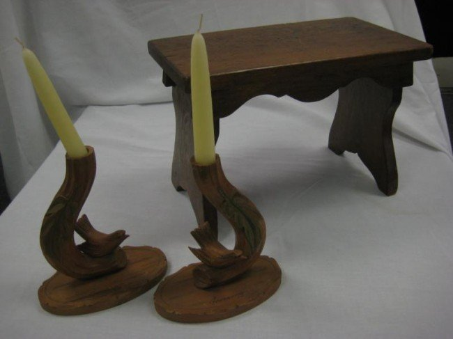 22: Carved wooden stool along with a pair of carved woo