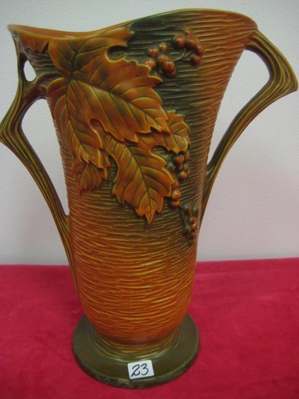 23: Roseville large Bushberry double handled vase #38-1