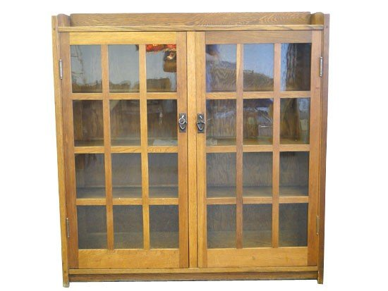 61: Rare Mission double door bookcase made around 1900