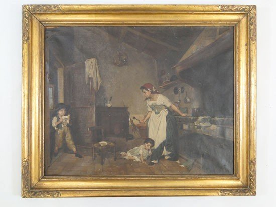 63: Quality early Italian oil depicting a young boy wit
