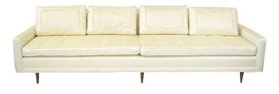1: Dunbar sofa in white dupioni silk – 2 cushion seat/4