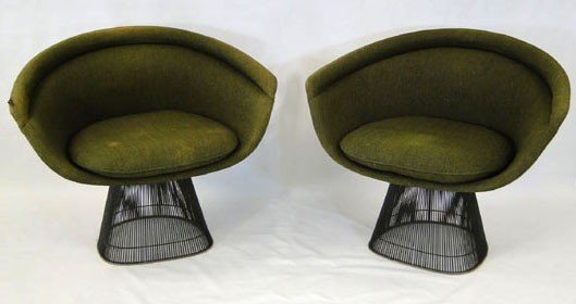 2: Original 1966 wire arm chairs with original upholste