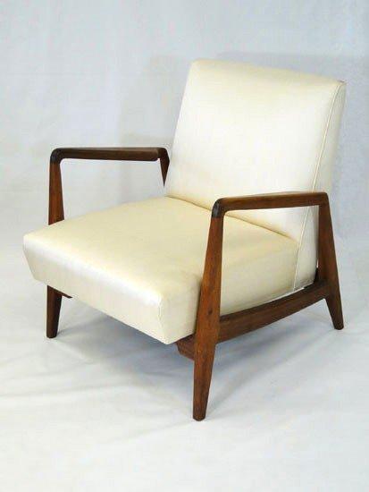 3: 20th Century Modern walnut arm chair in dupioni silk