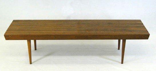 "5: Walnut bench/sofa table – 59"" long, 18"" deep, 14 ½"""