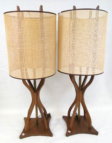 """6: Pair of 1960's walnut table lamp 41""""tall with cane o"""