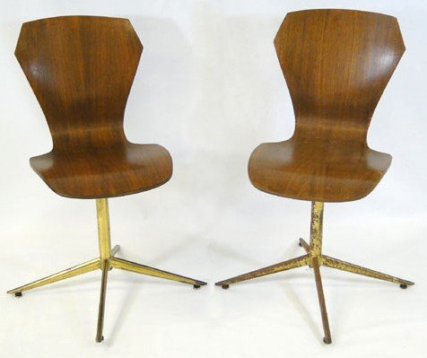 7: Desk and two walnut side chairs (loss is noted to fi