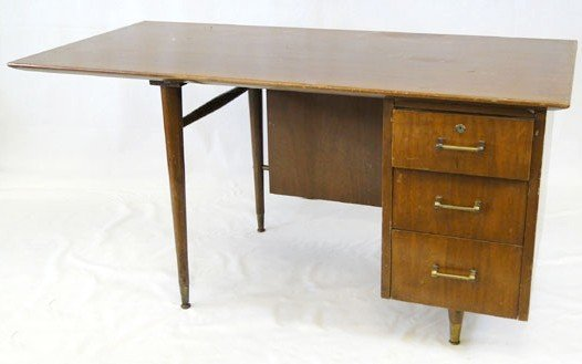 10: Late 50's - early 60's walnut executive desk in the