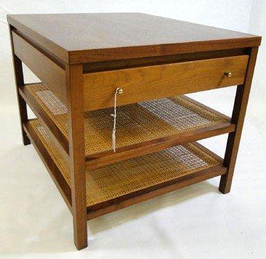 12: Paul McCobb two tiered single drawer walnut end tab