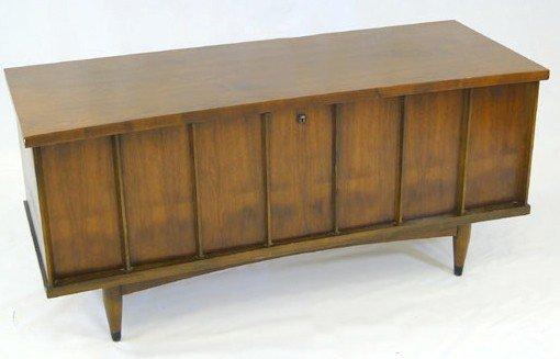 16: A 1960's Lane wish bone walnut cedar chest. Est. Va