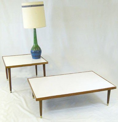 19: A large formica and walnut trimmed coffee table alo