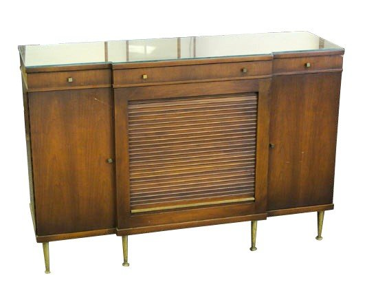 20: A 1960's walnut tambour front side server or entry